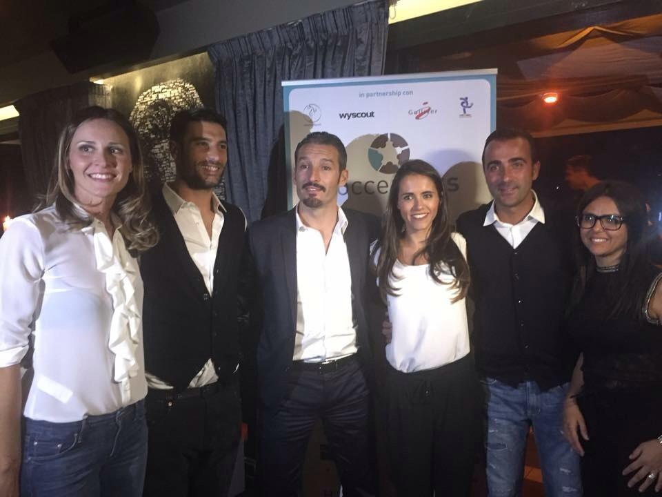 Peluso, Zambrotta e Barone con Sara della Soccerpass